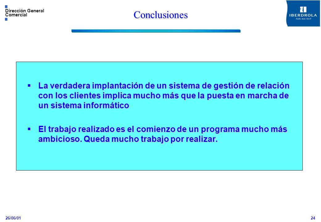 26/06/01 Dirección General Comercial 24 Conclusiones La verdadera implantación de un sistema de gestión de relación con los clientes implica mucho más