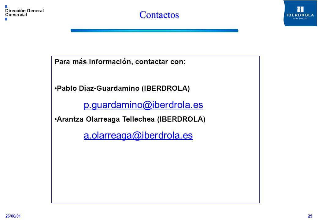 26/06/01 Dirección General Comercial 25 Contactos Para más información, contactar con: Pablo Díaz-Guardamino (IBERDROLA) p.guardamino@iberdrola.es Ara