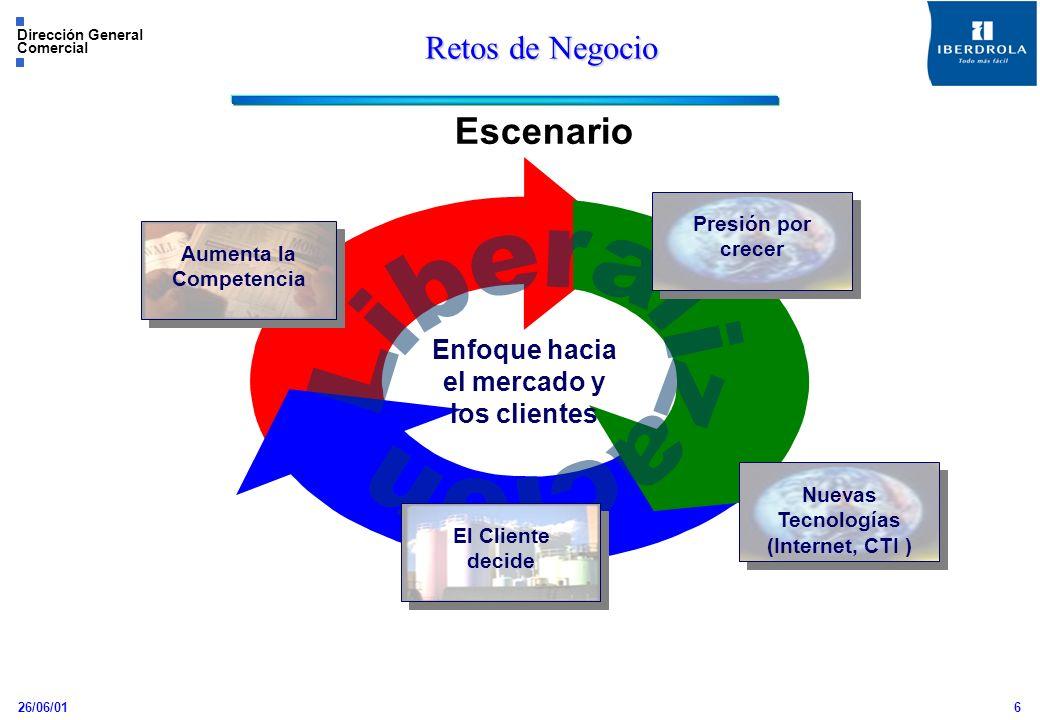 26/06/01 Dirección General Comercial 6 Retos de Negocio Escenario Aumenta la Competencia Presión por crecer Enfoque hacia el mercado y los clientes El