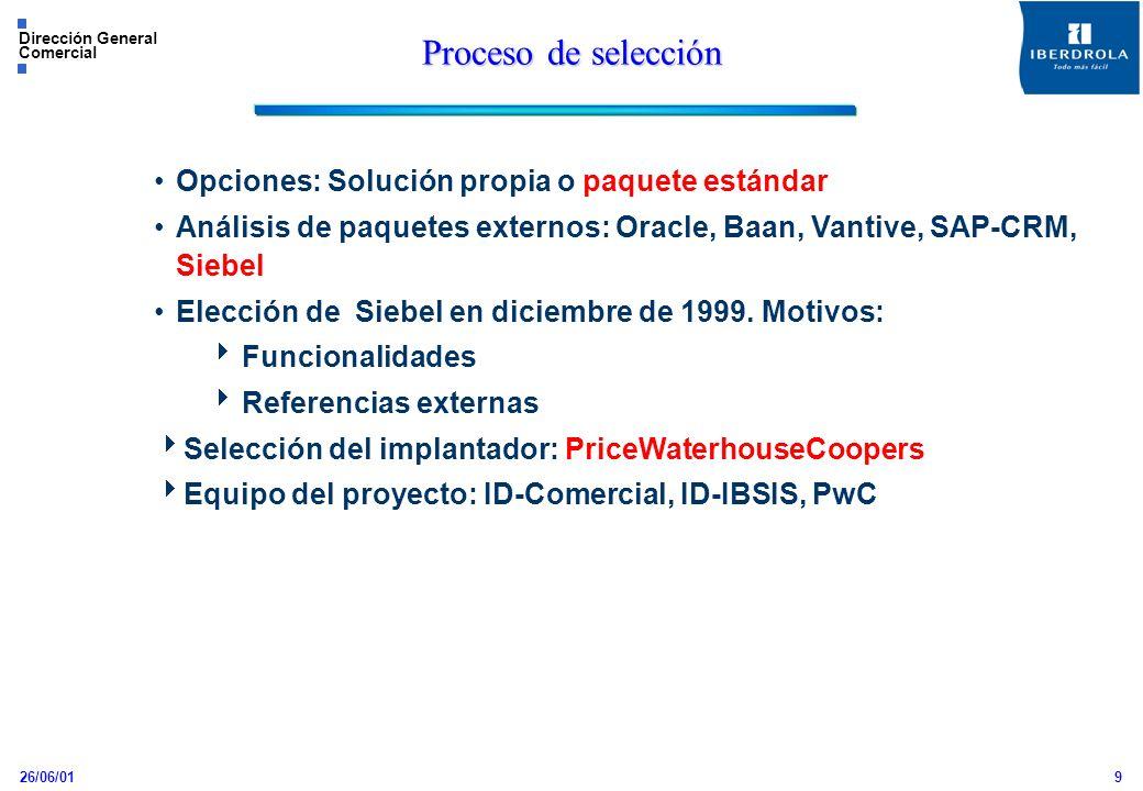 26/06/01 Dirección General Comercial 9 Proceso de selección Opciones: Solución propia o paquete estándar Análisis de paquetes externos: Oracle, Baan,