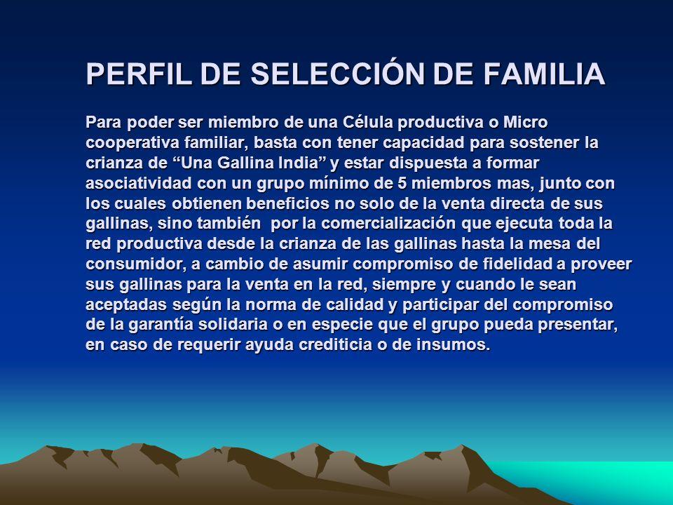 PERFIL DE SELECCIÓN DE FAMILIA Para poder ser miembro de una Célula productiva o Micro cooperativa familiar, basta con tener capacidad para sostener l