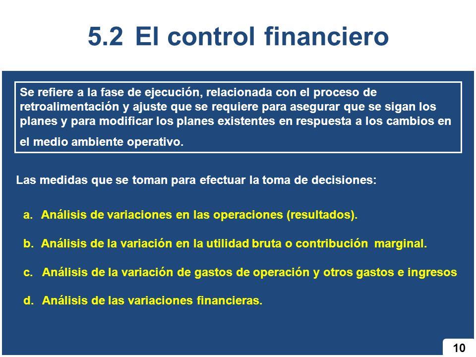 10 5.2El control financiero Se refiere a la fase de ejecución, relacionada con el proceso de retroalimentación y ajuste que se requiere para asegurar