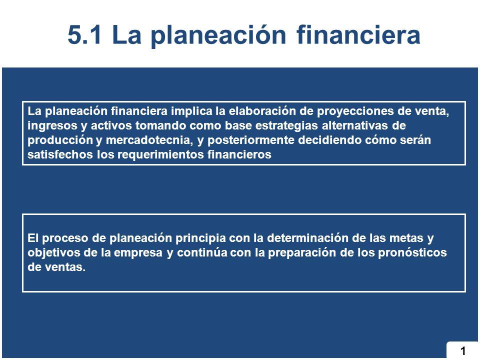 1 5.1 La planeación financiera El proceso de planeación principia con la determinación de las metas y objetivos de la empresa y continúa con la prepar
