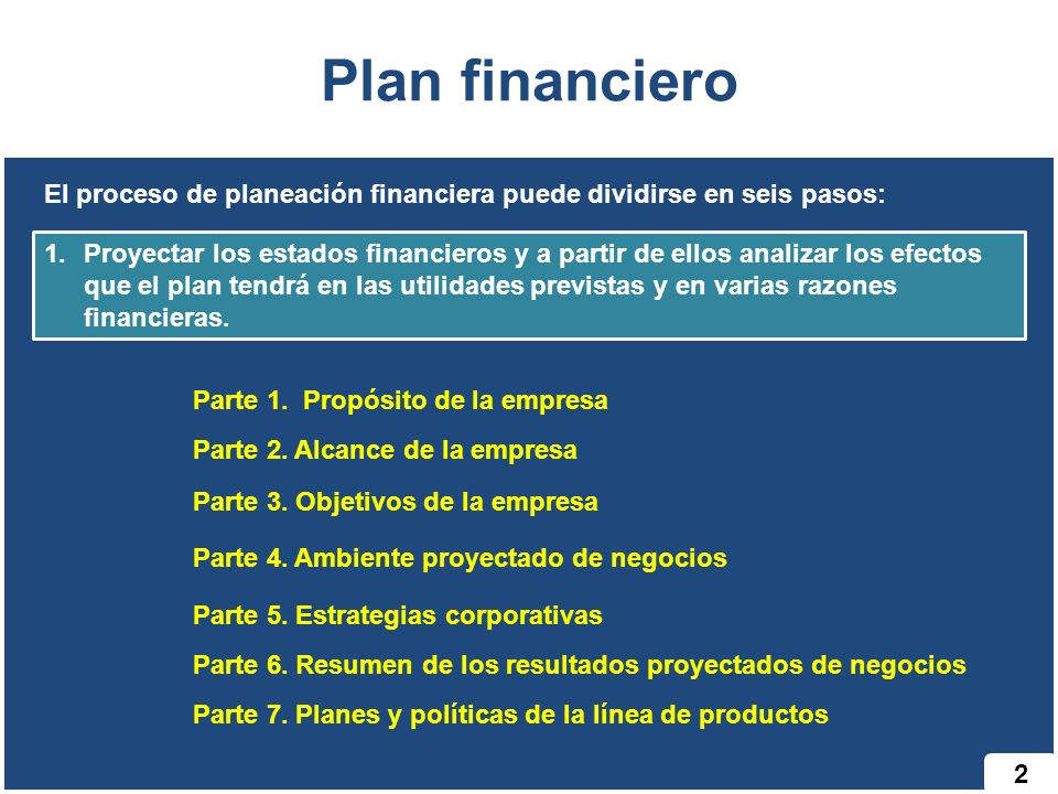 2 Plan financiero El proceso de planeación financiera puede dividirse en seis pasos: 1.Proyectar los estados financieros y a partir de ellos analizar
