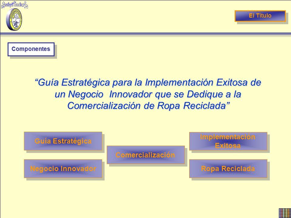 El Título ComponentesComponentes Guía Estratégica para la Implementación Exitosa de un Negocio Innovador que se Dedique a la Comercialización de Ropa