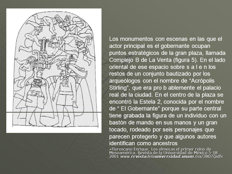 Los monumentos con escenas en las que el actor principal es el gobernante ocupan puntos estratégicos de la gran plaza, llamada Complejo B de La Venta