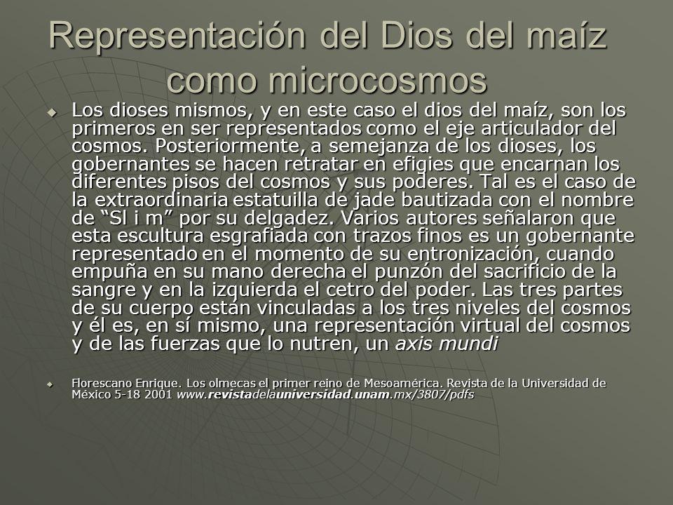 Representación del Dios del maíz como microcosmos Los dioses mismos, y en este caso el dios del maíz, son los primeros en ser representados como el ej