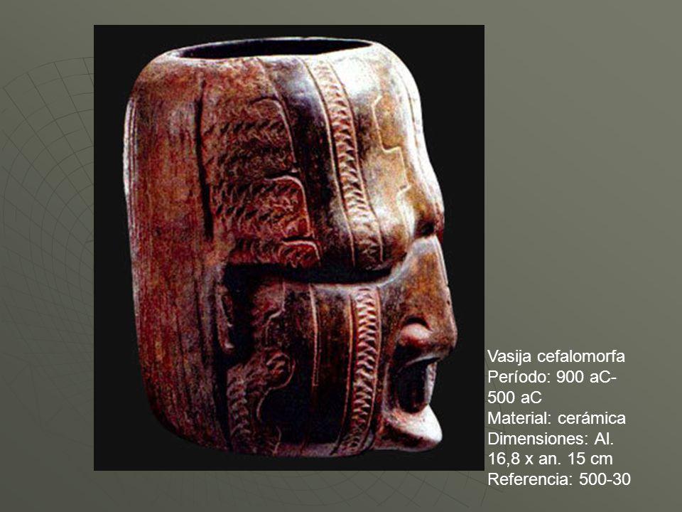 Vasija cefalomorfa Período: 900 aC- 500 aC Material: cerámica Dimensiones: Al. 16,8 x an. 15 cm Referencia: 500-30