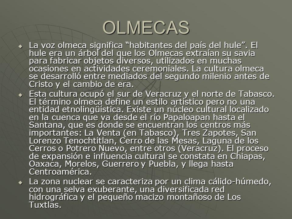 OLMECAS La voz olmeca significa habitantes del país del hule. El hule era un árbol del que los Olmecas extraían su savia para fabricar objetos diverso