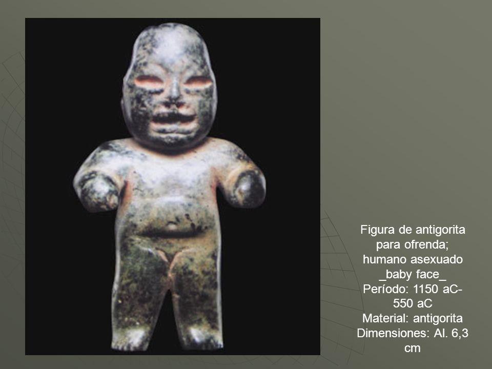 Figura de antigorita para ofrenda; humano asexuado _baby face_ Período: 1150 aC- 550 aC Material: antigorita Dimensiones: Al. 6,3 cm