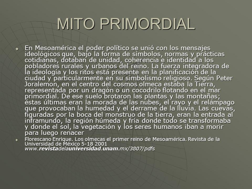 MITO PRIMORDIAL En Mesoamérica el poder político se unió con los mensajes ideológicos que, bajo la forma de símbolos, normas y prácticas cotidianas, d