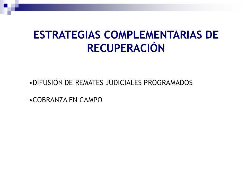 ESTRATEGIAS COMPLEMENTARIAS DE RECUPERACIÓN DIFUSIÓN DE REMATES JUDICIALES PROGRAMADOS COBRANZA EN CAMPO