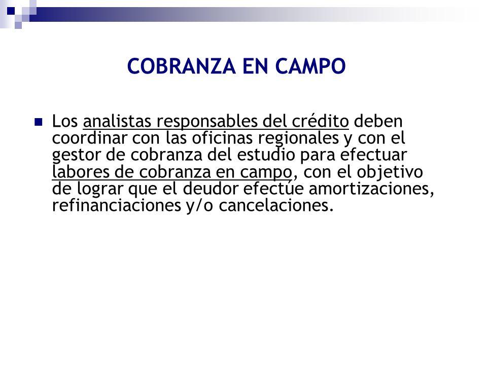 COBRANZA EN CAMPO Los analistas responsables del crédito deben coordinar con las oficinas regionales y con el gestor de cobranza del estudio para efec