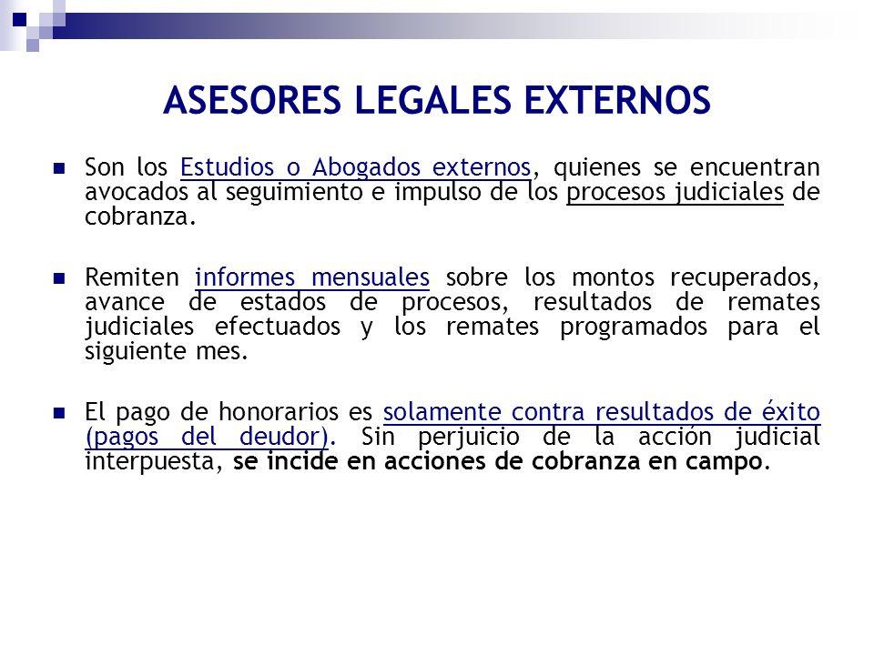 Son los Estudios o Abogados externos, quienes se encuentran avocados al seguimiento e impulso de los procesos judiciales de cobranza. Remiten informes