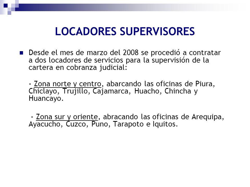 Desde el mes de marzo del 2008 se procedió a contratar a dos locadores de servicios para la supervisión de la cartera en cobranza judicial: - Zona nor
