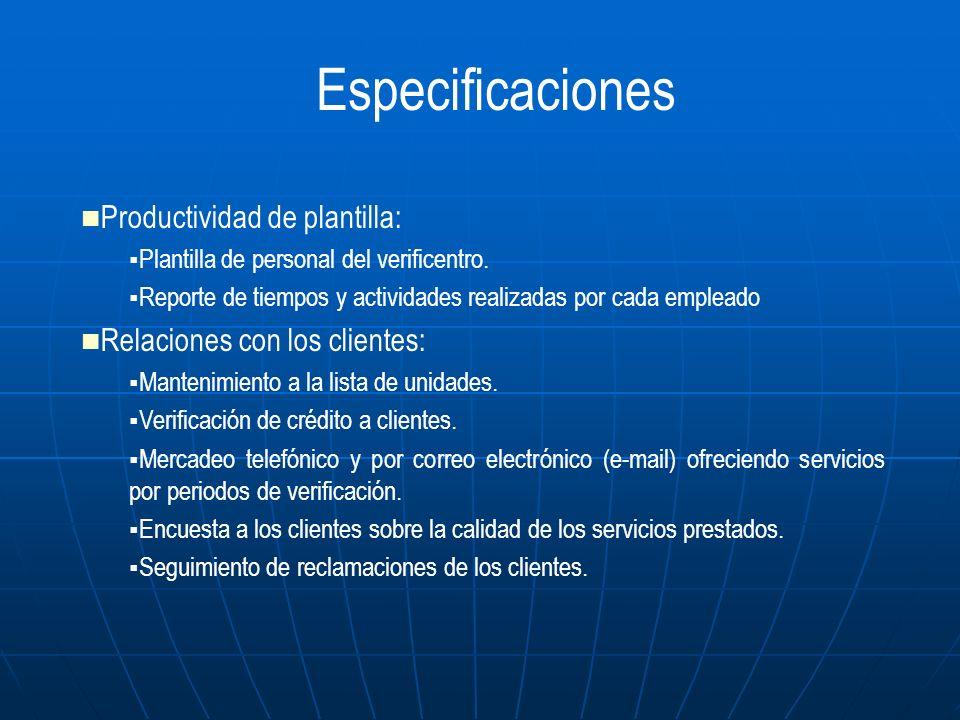 Productividad de plantilla: Plantilla de personal del verificentro. Reporte de tiempos y actividades realizadas por cada empleado Relaciones con los c