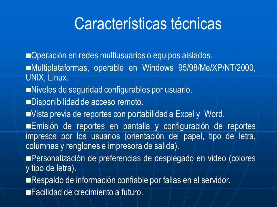 Operación en redes multiusuarios o equipos aislados. Multiplataformas, operable en Windows 95/98/Me/XP/NT/2000, UNIX, Linux. Niveles de seguridad conf