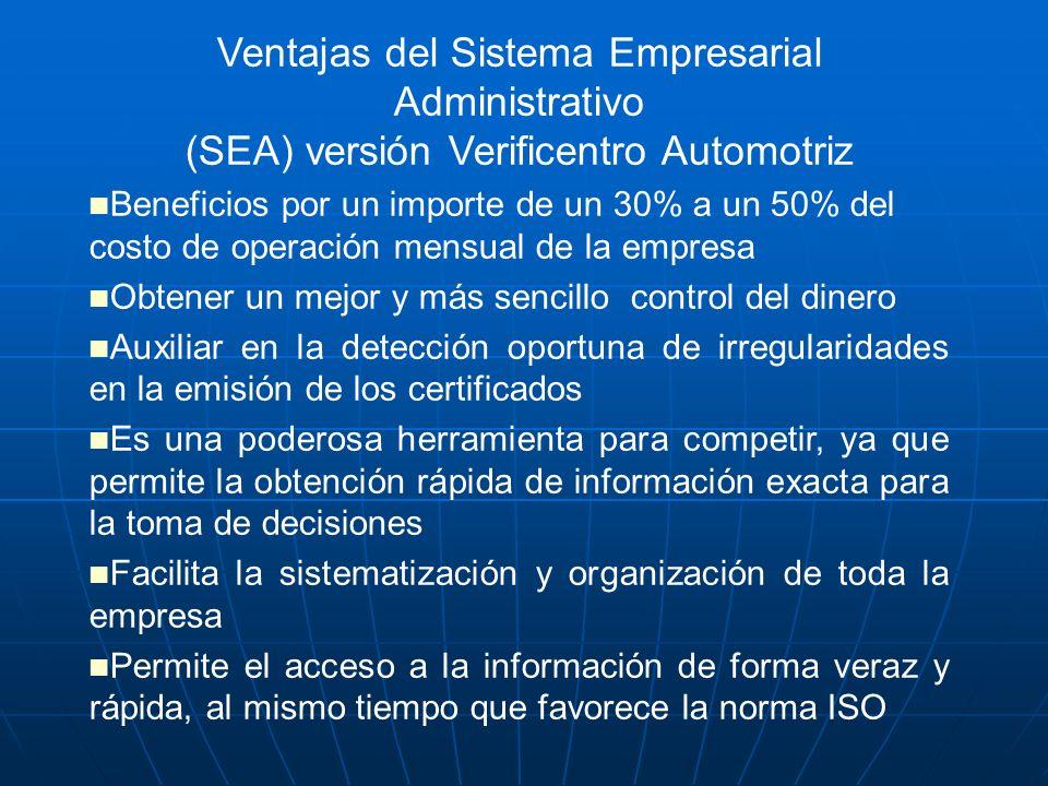 Ventajas del Sistema Empresarial Administrativo (SEA) versión Verificentro Automotriz Beneficios por un importe de un 30% a un 50% del costo de operac