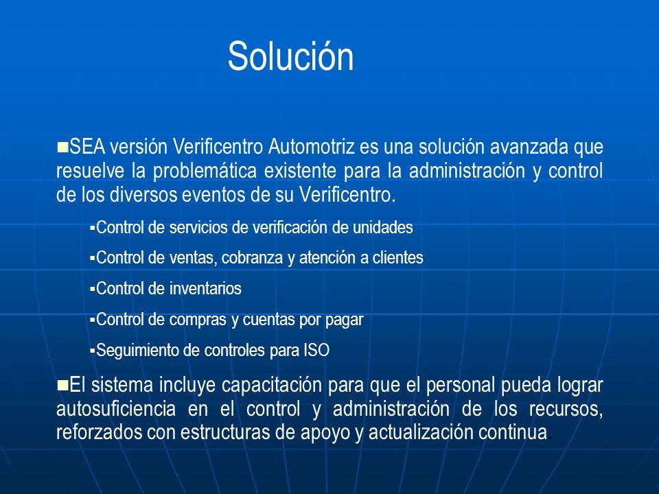 SEA versión Verificentro Automotriz es una solución avanzada que resuelve la problemática existente para la administración y control de los diversos e