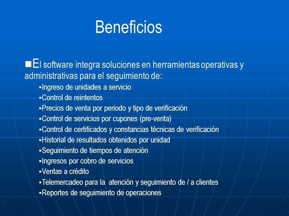 E l software integra soluciones en herramientas operativas y administrativas para el seguimiento de: Ingreso de unidades a servicio Control de reinten
