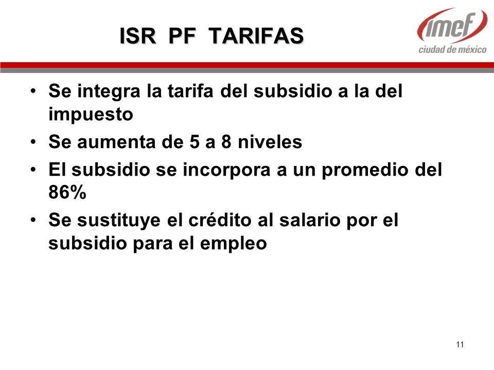 11 ISR PF TARIFAS Se integra la tarifa del subsidio a la del impuesto Se aumenta de 5 a 8 niveles El subsidio se incorpora a un promedio del 86% Se su