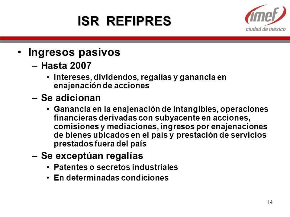 14 ISR REFIPRES Ingresos pasivos –Hasta 2007 Intereses, dividendos, regalías y ganancia en enajenación de acciones –Se adicionan Ganancia en la enajen