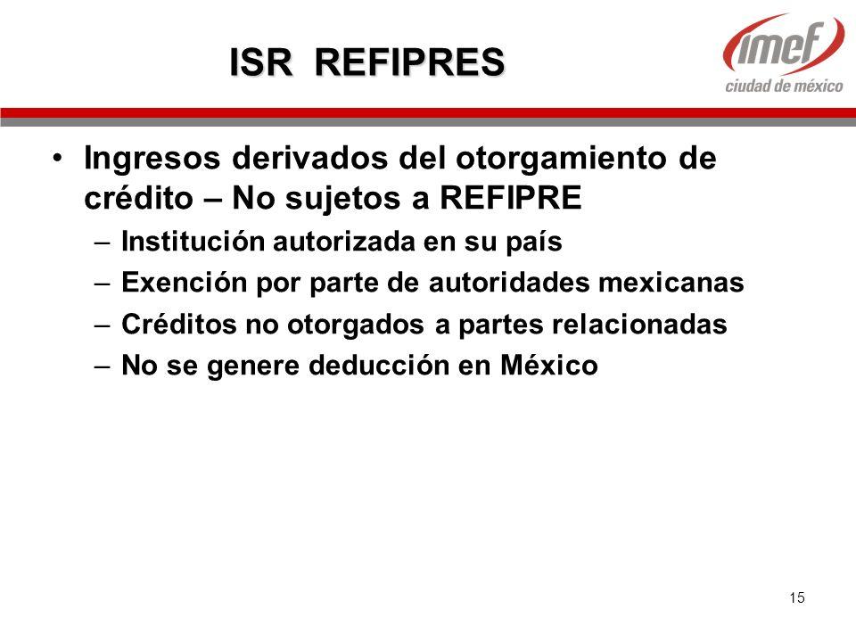 15 ISR REFIPRES Ingresos derivados del otorgamiento de crédito – No sujetos a REFIPRE –Institución autorizada en su país –Exención por parte de autori