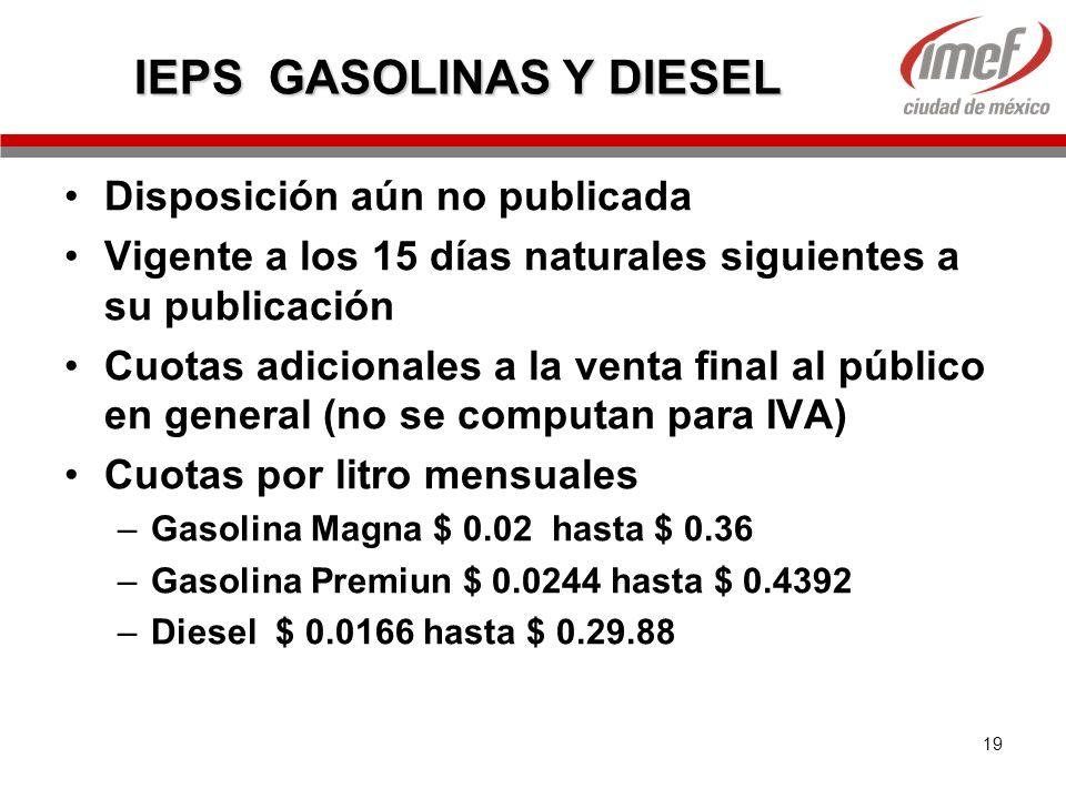 19 IEPS GASOLINAS Y DIESEL Disposición aún no publicada Vigente a los 15 días naturales siguientes a su publicación Cuotas adicionales a la venta fina