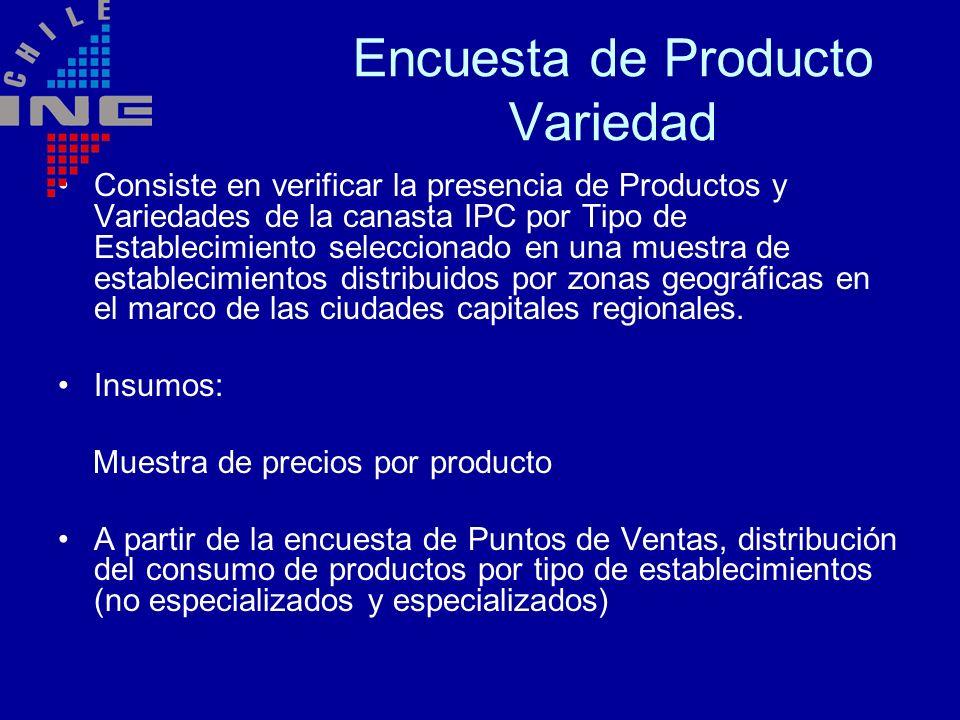 Encuesta de Producto Variedad Consiste en verificar la presencia de Productos y Variedades de la canasta IPC por Tipo de Establecimiento seleccionado