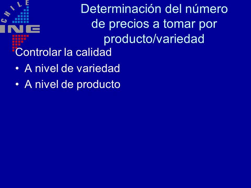 Determinación del número de precios a tomar por producto/variedad Controlar la calidad A nivel de variedad A nivel de producto