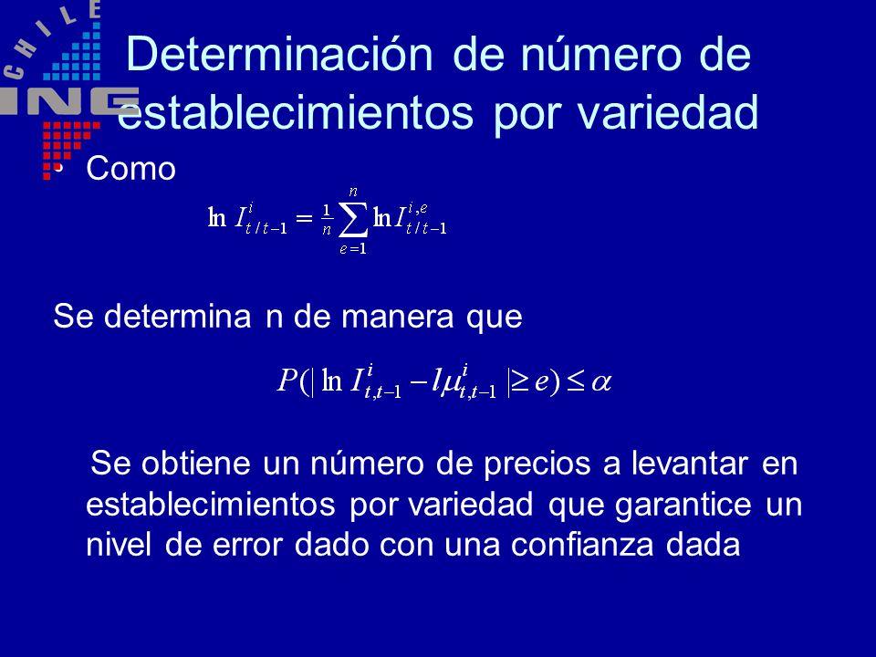 Determinación de número de establecimientos por variedad Como Se determina n de manera que Se obtiene un número de precios a levantar en establecimien