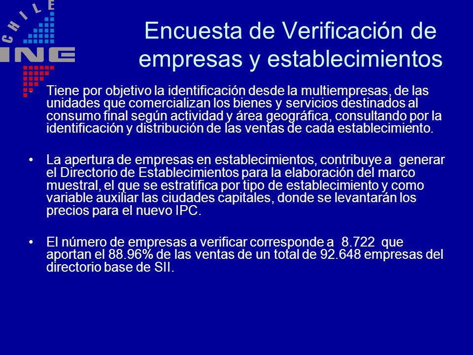 Encuesta de Verificación de empresas y establecimientos Tiene por objetivo la identificación desde la multiempresas, de las unidades que comercializan