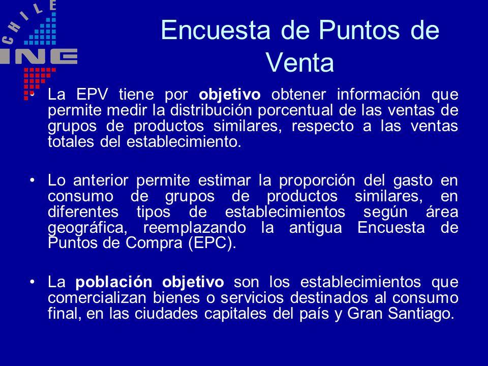 Encuesta de Puntos de Venta La EPV tiene por objetivo obtener información que permite medir la distribución porcentual de las ventas de grupos de prod