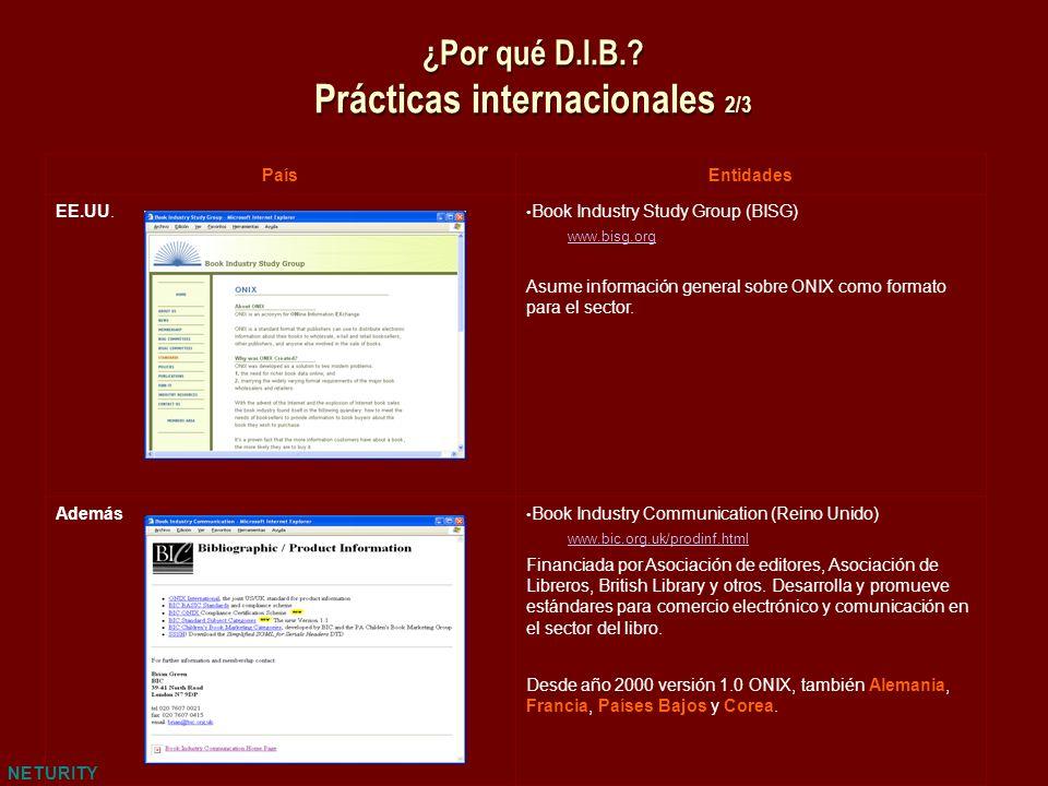 NETURITY ¿Por qué D.I.B.? Prácticas internacionales 2/3 PaísEntidades EE.UU. Book Industry Study Group (BISG) www.bisg.org Asume información general s