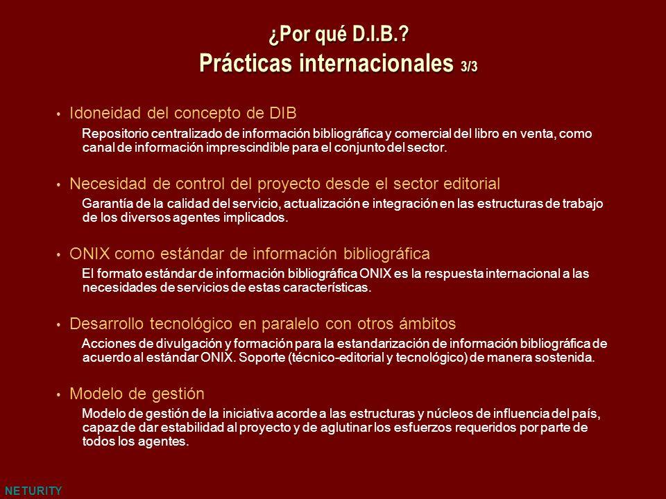 NETURITY ¿Por qué D.I.B.? Prácticas internacionales 3/3 Idoneidad del concepto de DIB Repositorio centralizado de información bibliográfica y comercia