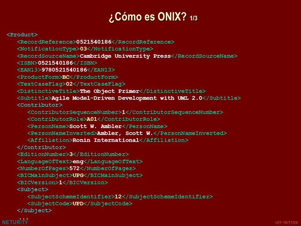 NETURITY v01-19/11/04 ¿Cómo es ONIX? 1/3 0521540186 03 Cambridge University Press 0521540186 9780521540186 BC 02 The Object Primer Agile Model-Driven