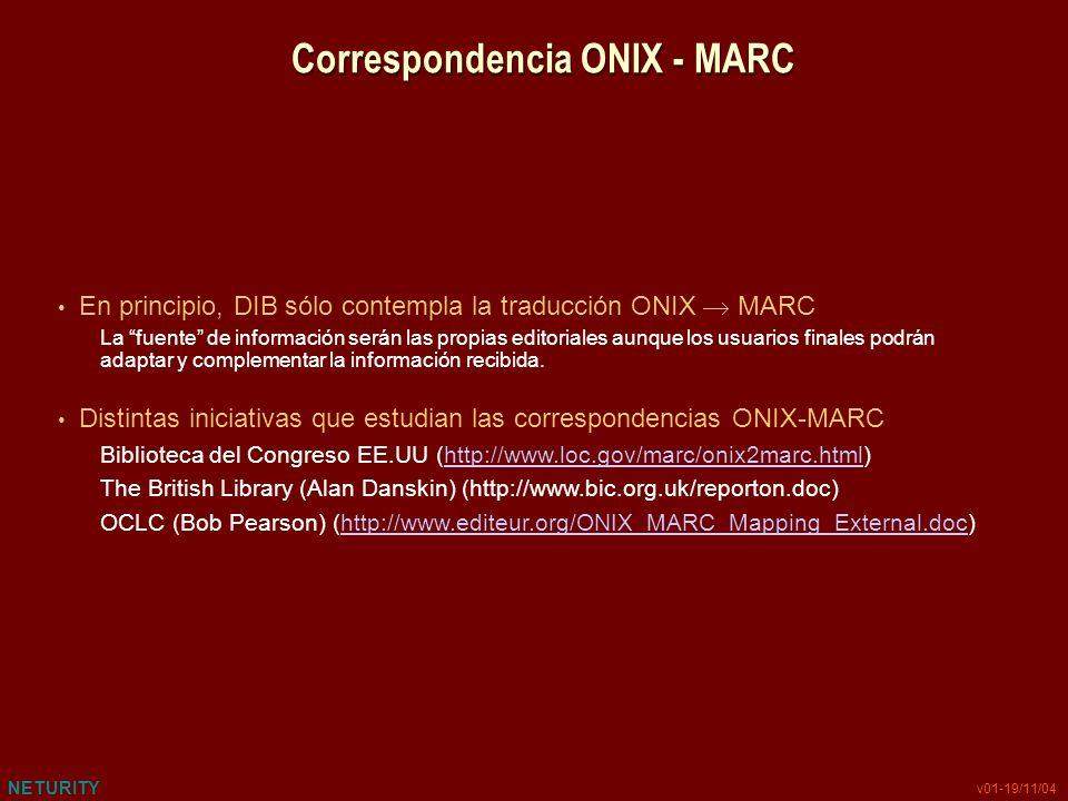 NETURITY v01-19/11/04 Correspondencia ONIX - MARC En principio, DIB sólo contempla la traducción ONIX MARC La fuente de información serán las propias