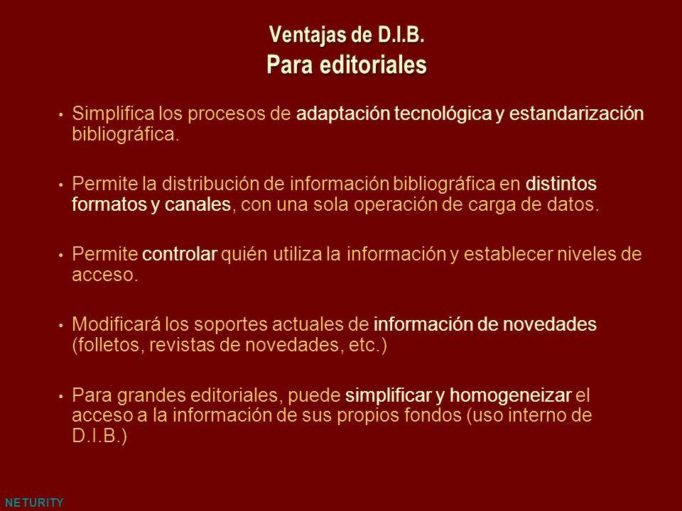NETURITY Ventajas de D.I.B. Para editoriales Simplifica los procesos de adaptación tecnológica y estandarización bibliográfica. Permite la distribució