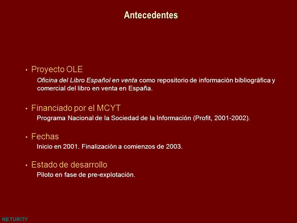 NETURITY Antecedentes Proyecto OLE Oficina del Libro Español en venta como repositorio de información bibliográfica y comercial del libro en venta en