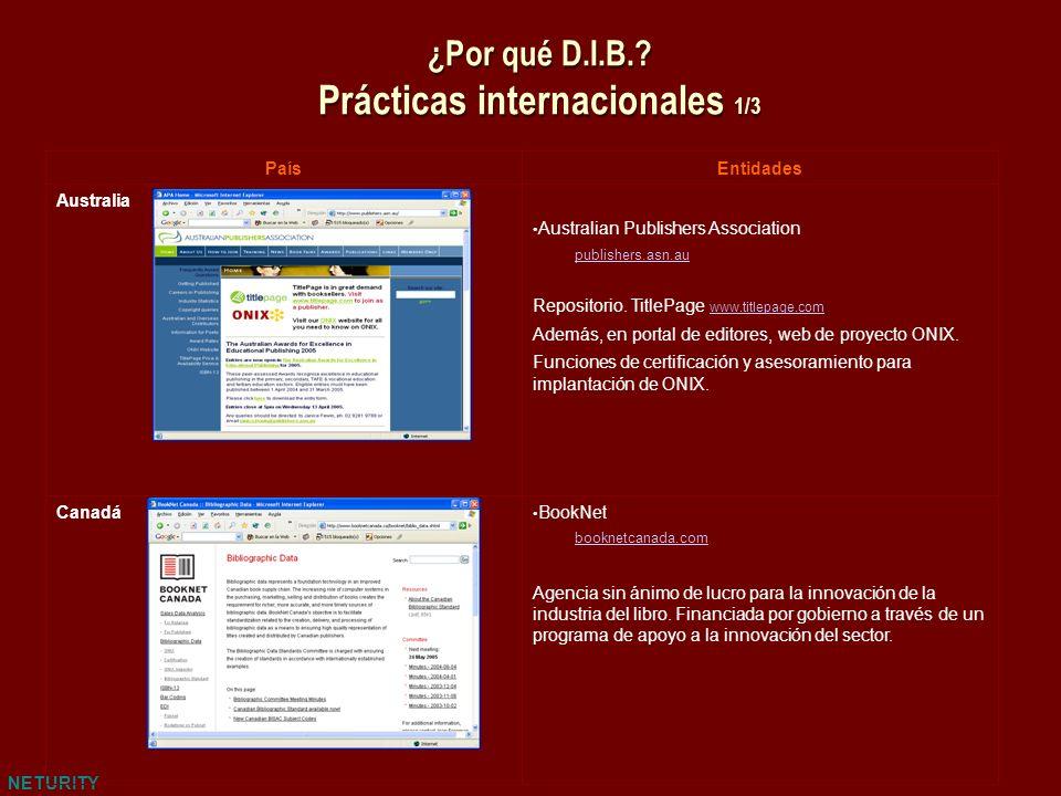 NETURITY ¿Por qué D.I.B.? Prácticas internacionales 1/3 PaísEntidades Australia Australian Publishers Association publishers.asn.au Repositorio. Title