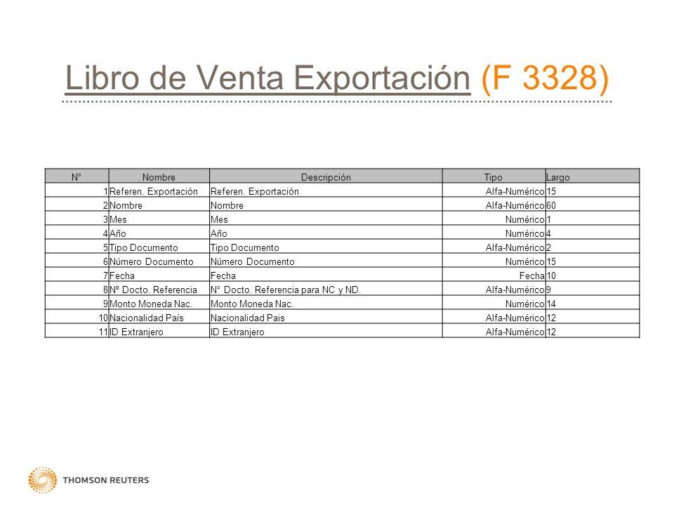 Libro de Venta ExportaciónLibro de Venta Exportación (F 3328) N°NombreDescripciónTipoLargo 1Referen. Exportación Alfa-Numérico15 2Nombre Alfa-Numérico