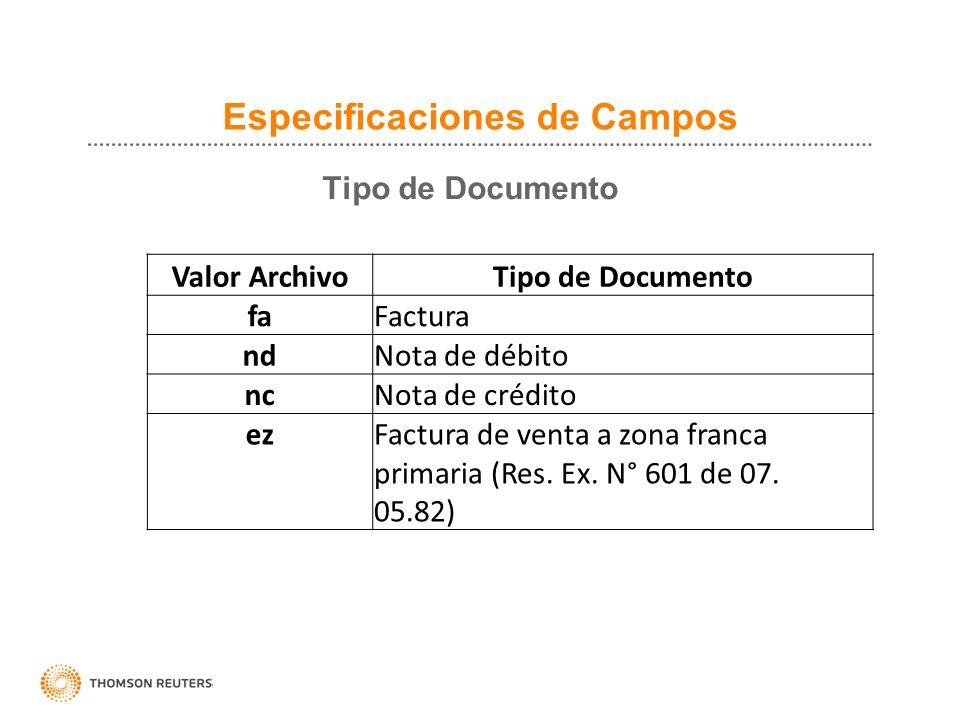 Especificaciones de Campos Tipo de Documento Valor ArchivoTipo de Documento faFactura ndNota de débito ncNota de crédito ezFactura de venta a zona fra