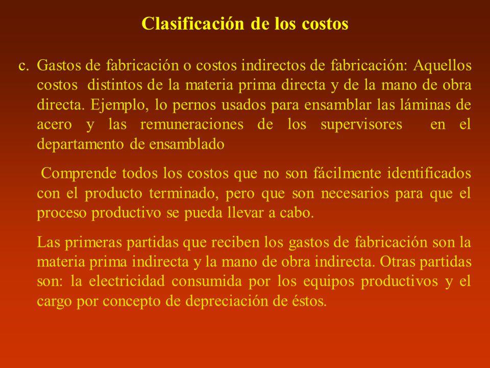 Clasificación de los costos c.Gastos de fabricación o costos indirectos de fabricación: Aquellos costos distintos de la materia prima directa y de la