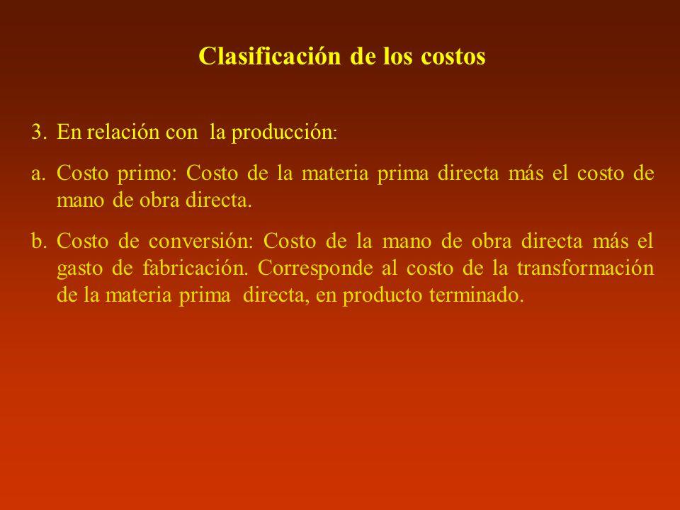 Clasificación de los costos 3.En relación con la producción : a.Costo primo: Costo de la materia prima directa más el costo de mano de obra directa. b