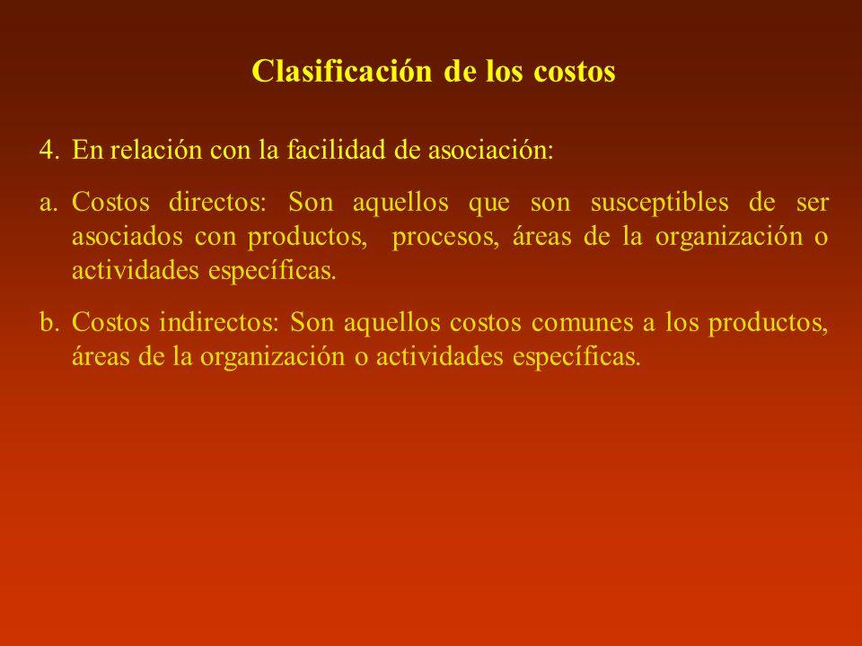 Clasificación de los costos 4.En relación con la facilidad de asociación: a.Costos directos: Son aquellos que son susceptibles de ser asociados con pr