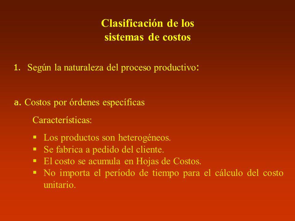Clasificación de los sistemas de costos 1. Según la naturaleza del proceso productivo : a. Costos por órdenes específicas Características: Los product