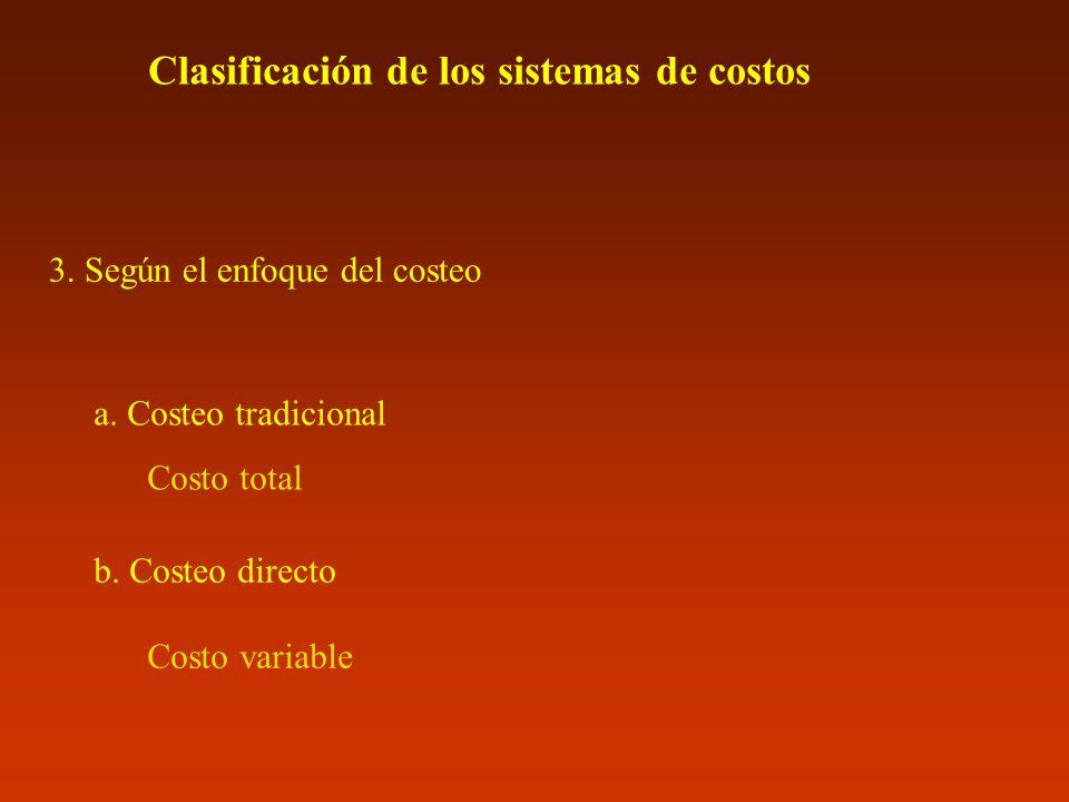 Clasificación de los sistemas de costos 3. Según el enfoque del costeo a. Costeo tradicional Costo total b. Costeo directo Costo variable