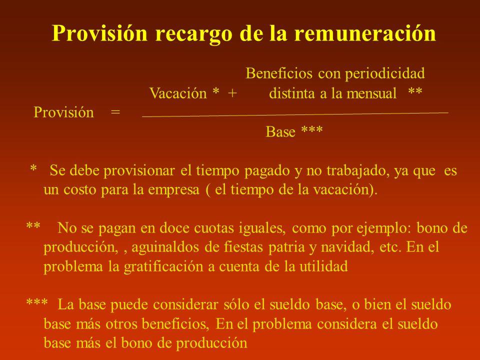 Provisión recargo de la remuneración Beneficios con periodicidad Vacación * + distinta a la mensual ** Provisión = Base *** * Se debe provisionar el t