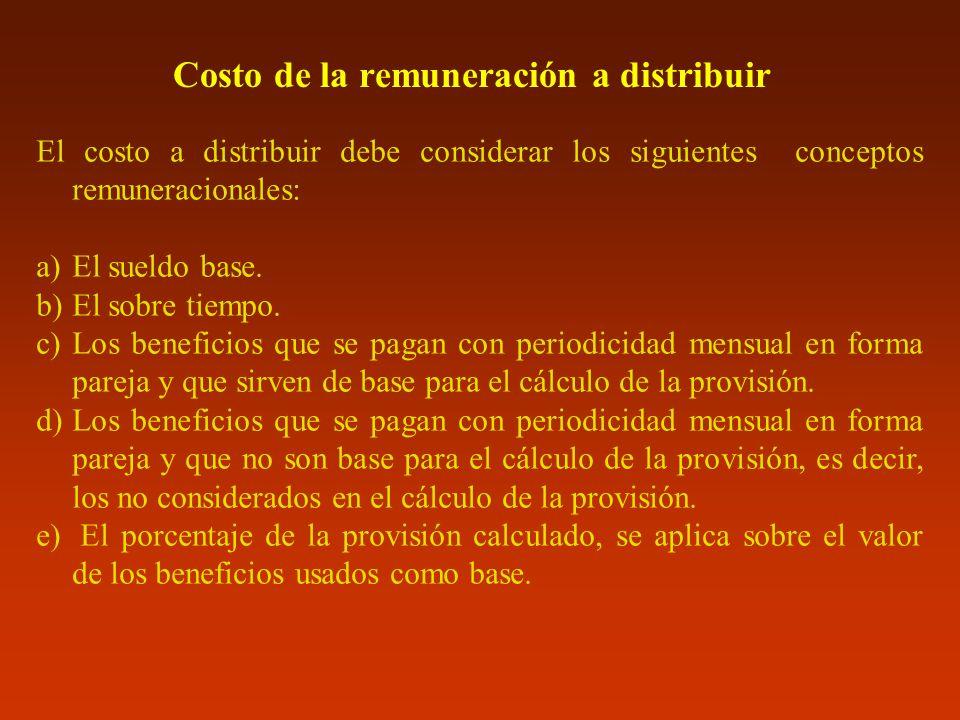 Costo de la remuneración a distribuir El costo a distribuir debe considerar los siguientes conceptos remuneracionales: a)El sueldo base. b)El sobre ti