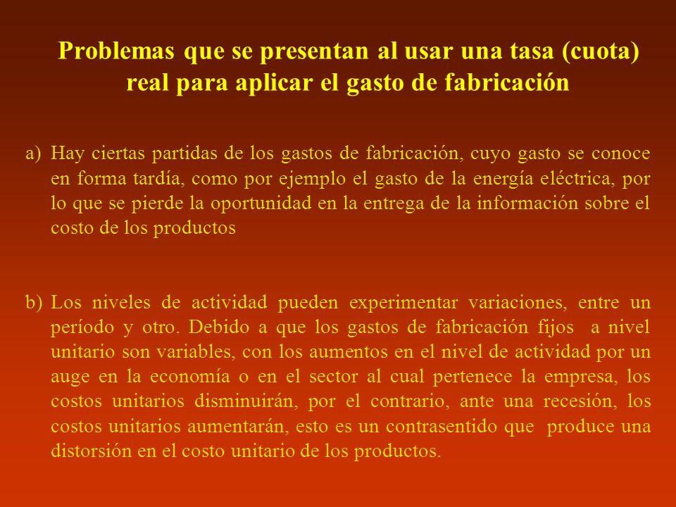 Problemas que se presentan al usar una tasa (cuota) real para aplicar el gasto de fabricación a)Hay ciertas partidas de los gastos de fabricación, cuy